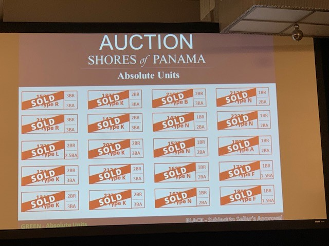 Auction Results for the Shores of Panama Condominium in 2019